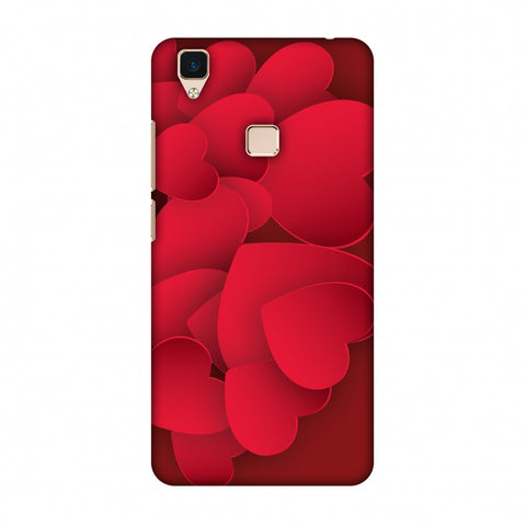 Red Hearts Slim Hard Shell Case For Vivo V3