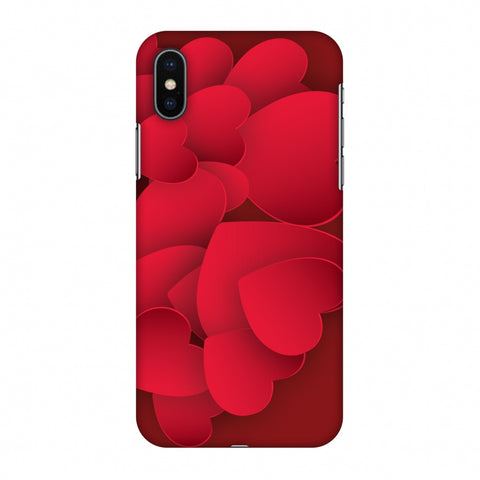 Red Hearts Slim Hard Shell Case For Apple iPhone X
