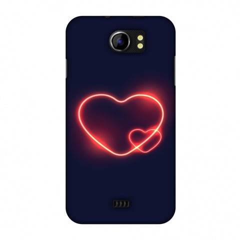 Glowing Heart Slim Hard Shell Case For Micromax Canvas 2 A110