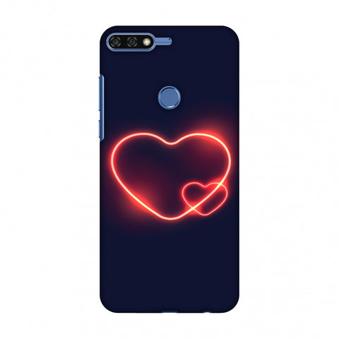 Glowing Heart Slim Hard Shell Case For Huawei Honor 7C