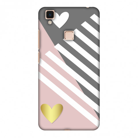 Geometric Shapes & Hearts Slim Hard Shell Case For Vivo V3 Max