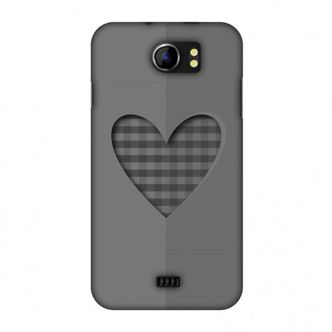 Grey Heart Slim Hard Shell Case For Micromax Canvas 2 A110