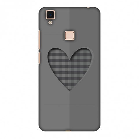 Grey Heart Slim Hard Shell Case For Vivo V3 Max