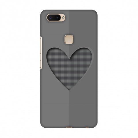 Grey Heart Slim Hard Shell Case For Vivo X20 Plus