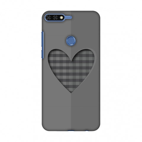 Grey Heart Slim Hard Shell Case For Huawei Honor 7C