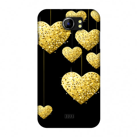 Golden Hanging Hearts Slim Hard Shell Case For Micromax Canvas 2 A110