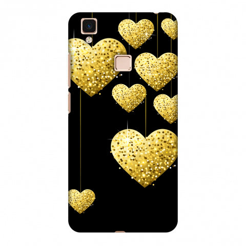 Golden Hanging Hearts Slim Hard Shell Case For Vivo V3 Max