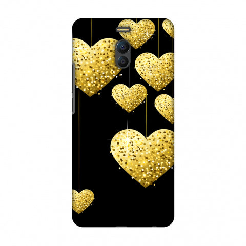 Golden Hanging Hearts Slim Hard Shell Case For Meizu Note 6