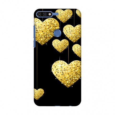 Golden Hanging Hearts Slim Hard Shell Case For Huawei Honor 7C