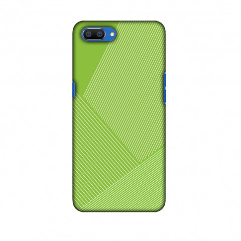 Carbon Fibre Redux Pear Green 1 Slim Hard Shell Case For Oppo Realme C1