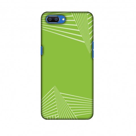 Carbon Fibre Redux Pear Green 3 Slim Hard Shell Case For Oppo Realme C1
