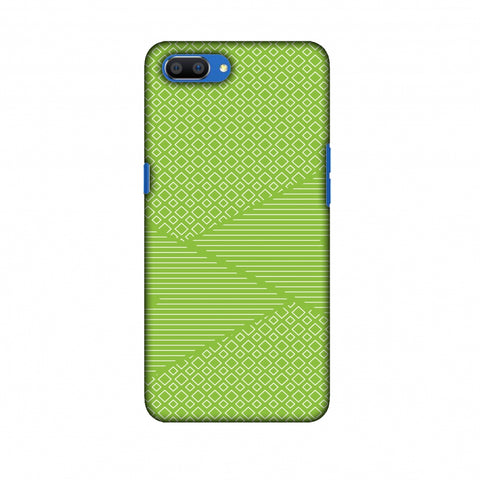 Carbon Fibre Redux Pear Green 6 Slim Hard Shell Case For Oppo Realme C1