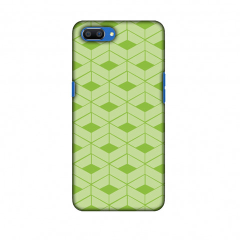 Carbon Fibre Redux Pear Green 9 Slim Hard Shell Case For Oppo Realme C1