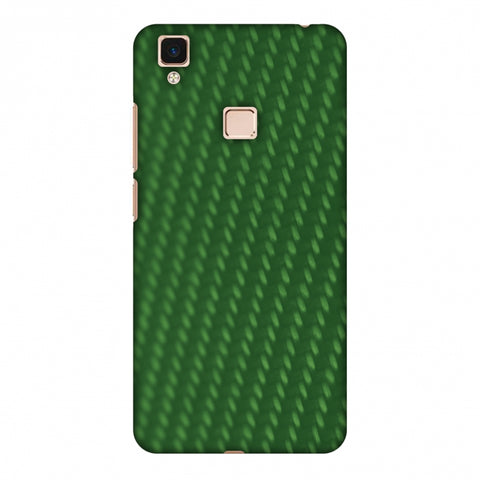 Carbon Fibre Redux Pear Green 13 Slim Hard Shell Case For Vivo V3 Max