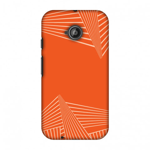 Carbon Fibre Redux Tangy Orange 3 Slim Hard Shell Case For Motorola Moto E 2nd Gen