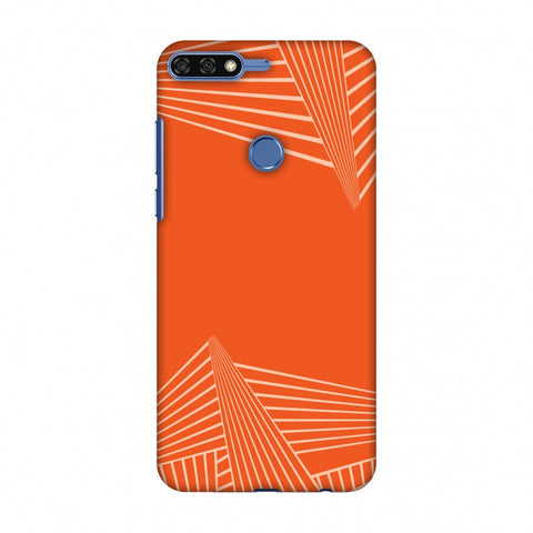 Carbon Fibre Redux Tangy Orange 3 Slim Hard Shell Case For Huawei Honor 7C
