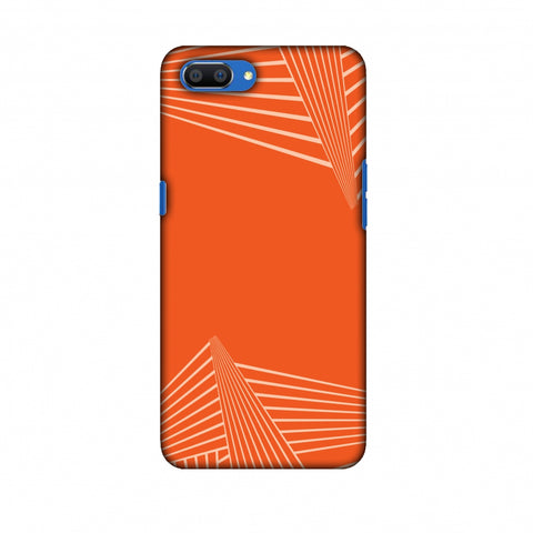 Carbon Fibre Redux Tangy Orange 3 Slim Hard Shell Case For Oppo Realme C1