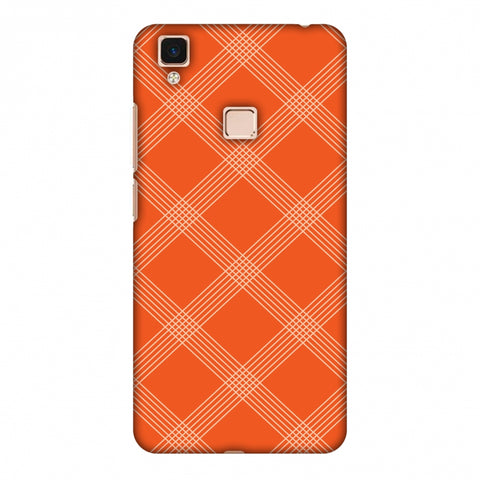 Carbon Fibre Redux Tangy Orange 5 Slim Hard Shell Case For Vivo V3 Max