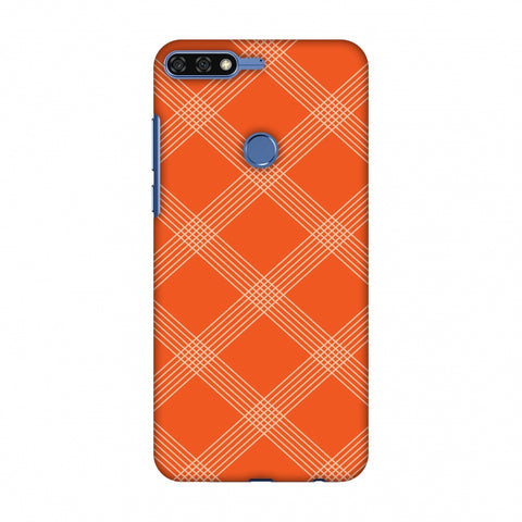 Carbon Fibre Redux Tangy Orange 5 Slim Hard Shell Case For Huawei Honor 7C