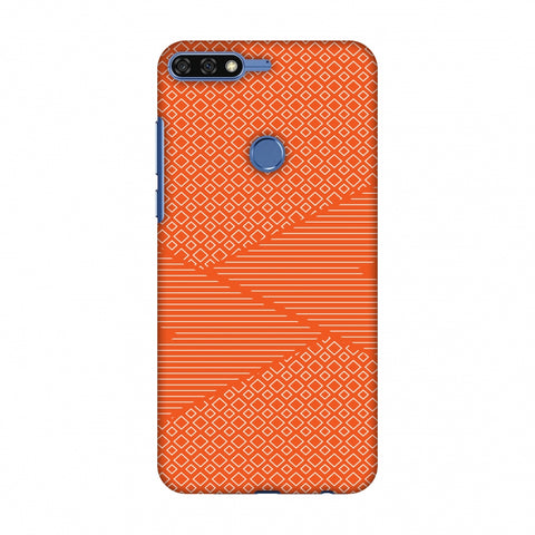 Carbon Fibre Redux Tangy Orange 6 Slim Hard Shell Case For Huawei Honor 7C