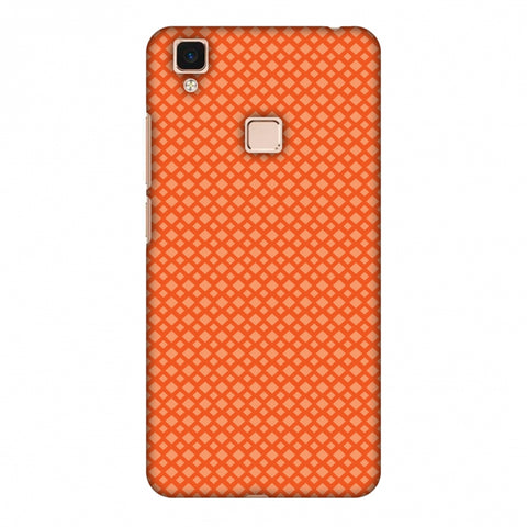 Carbon Fibre Redux Tangy Orange 7 Slim Hard Shell Case For Vivo V3 Max
