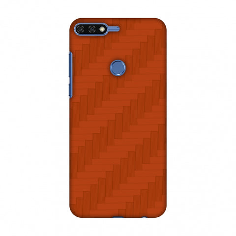 Carbon Fibre Redux Tangy Orange 8 Slim Hard Shell Case For Huawei Honor 7C