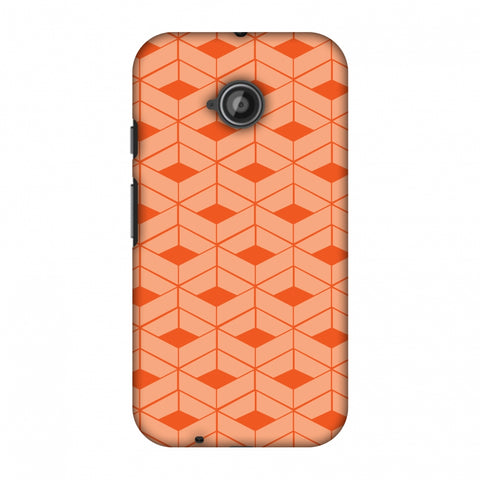 Carbon Fibre Redux Tangy Orange 9 Slim Hard Shell Case For Motorola Moto E 2nd Gen