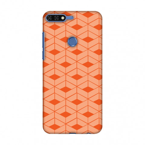 Carbon Fibre Redux Tangy Orange 9 Slim Hard Shell Case For Huawei Honor 7C