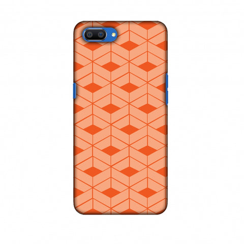 Carbon Fibre Redux Tangy Orange 9 Slim Hard Shell Case For Oppo Realme C1