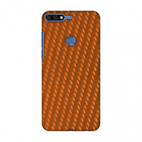 Carbon Fibre Redux Tangy Orange 12 Slim Hard Shell Case For Huawei Honor 7C