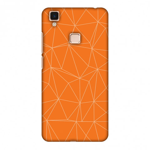 Carbon Fibre Redux Tangy Orange 13 Slim Hard Shell Case For Vivo V3 Max