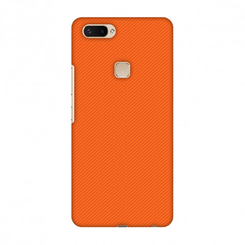 Carbon Fibre Redux Tangy Orange 15 Slim Hard Shell Case For Vivo X20 Plus
