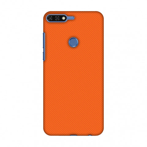 Carbon Fibre Redux Tangy Orange 15 Slim Hard Shell Case For Huawei Honor 7C
