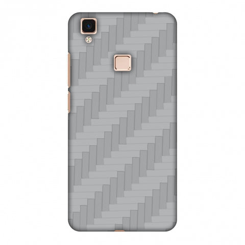 Carbon Fibre Redux Stone Gray 8 Slim Hard Shell Case For Vivo V3 Max