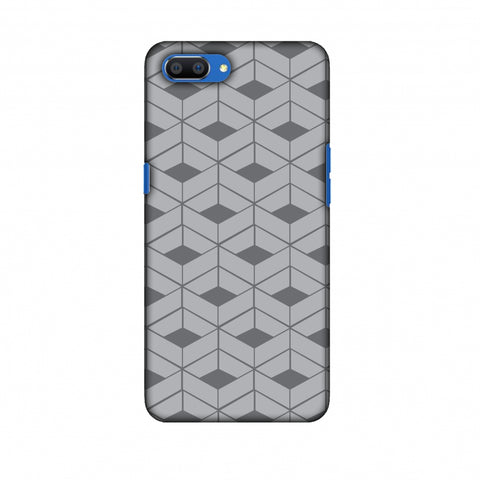 Carbon Fibre Redux Stone Gray 9 Slim Hard Shell Case For Oppo Realme C1