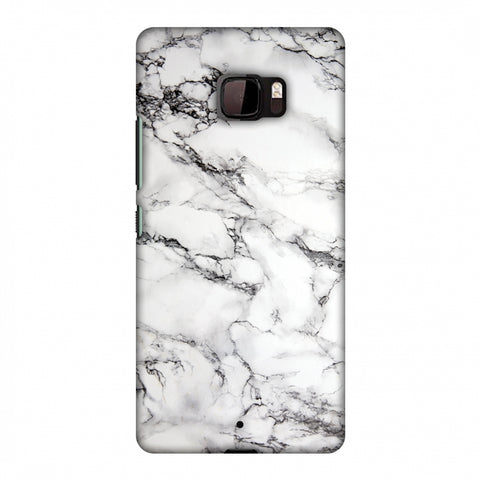 White Marble 2 Slim Hard Shell Case For HTC U Ultra