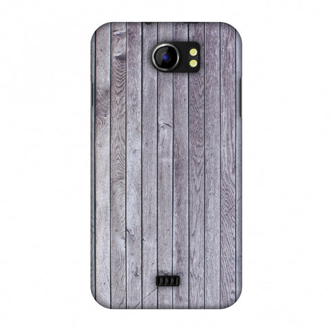 Grey Wood Slim Hard Shell Case For Micromax Canvas 2 A110