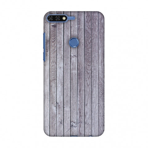 Grey Wood Slim Hard Shell Case For Huawei Honor 7C
