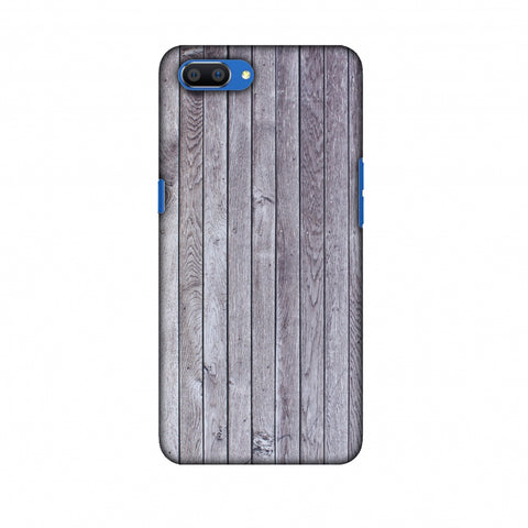 Grey Wood Slim Hard Shell Case For Oppo Realme C1