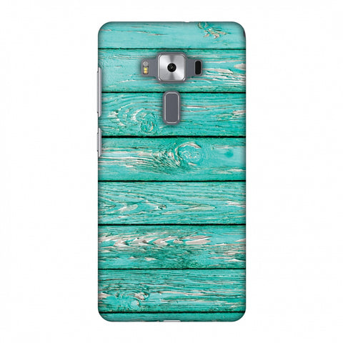 Teal Wood Slim Hard Shell Case For Asus Zenfone 3 Deluxe ZS570KL