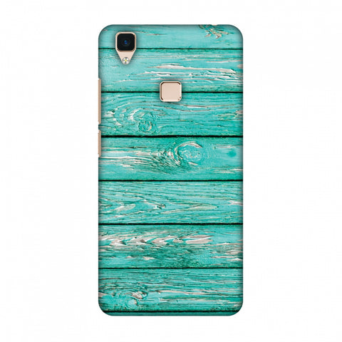 Teal Wood Slim Hard Shell Case For Vivo V3
