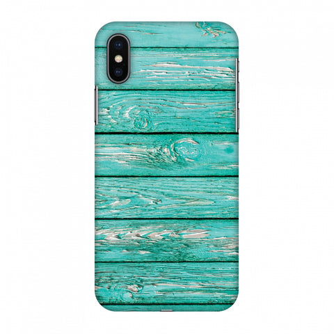 Teal Wood Slim Hard Shell Case For Apple iPhone X