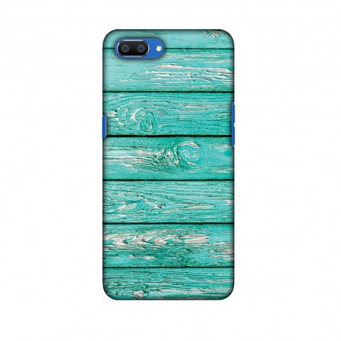 Teal Wood Slim Hard Shell Case For Oppo Realme C1