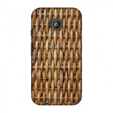 Wicker Wood Slim Hard Shell Case For Motorola Moto E 2nd Gen