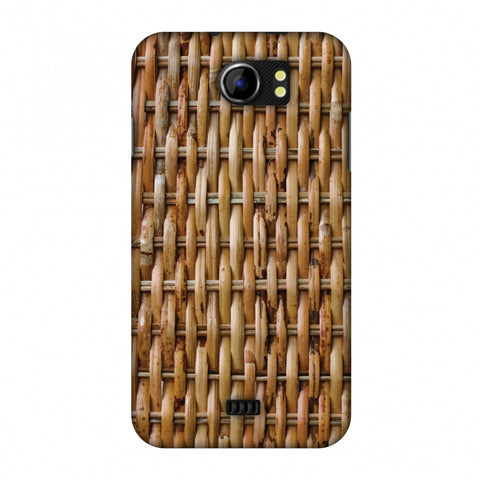Wicker Wood Slim Hard Shell Case For Micromax Canvas 2 A110