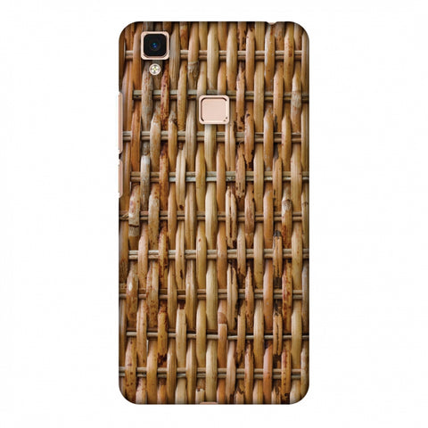 Wicker Wood Slim Hard Shell Case For Vivo V3 Max