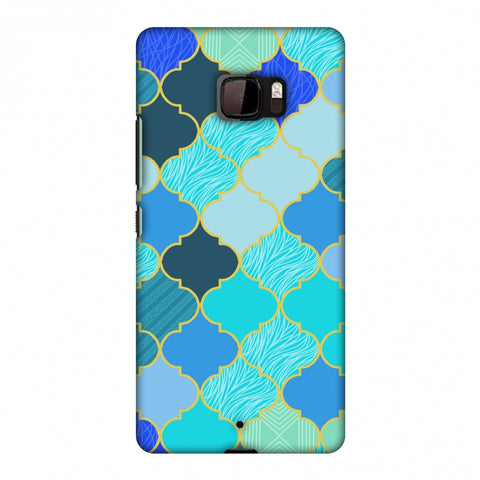 Stained Glass - Carribean Blue Slim Hard Shell Case For HTC U Ultra