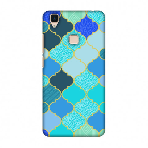 Stained Glass - Carribean Blue Slim Hard Shell Case For Vivo V3