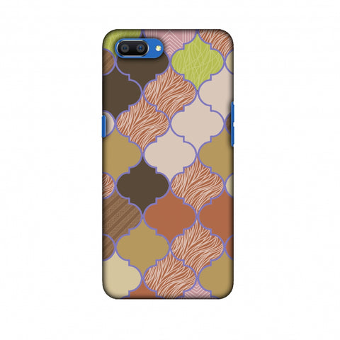 Stained Glass - Mud Brown And Cotton CAndy Slim Hard Shell Case For Oppo Realme C1