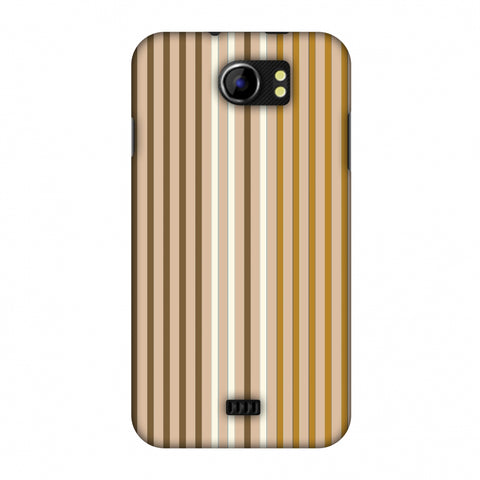 Stripes - Beige And Musrtard Slim Hard Shell Case For Micromax Canvas 2 A110